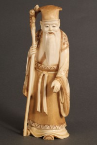 Lot 270: Asian Ivory figure, Scholar holding staff