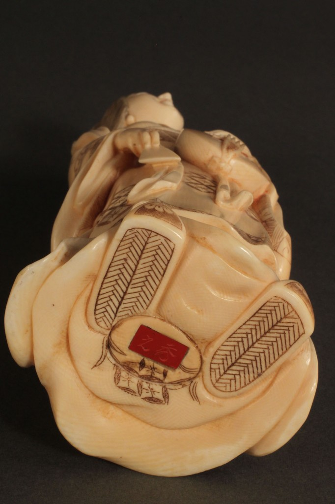 Lot 271: Asian Ivory figure, Geisha with musical instrument