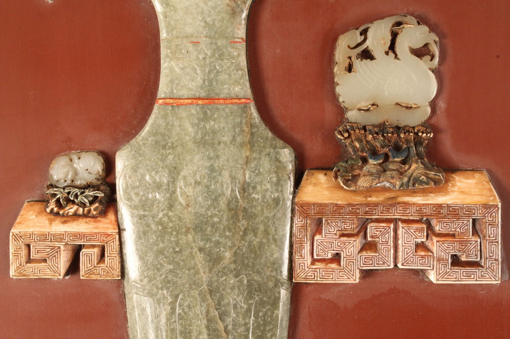 Lot 274: Large Oriental panel with hard stone carvings