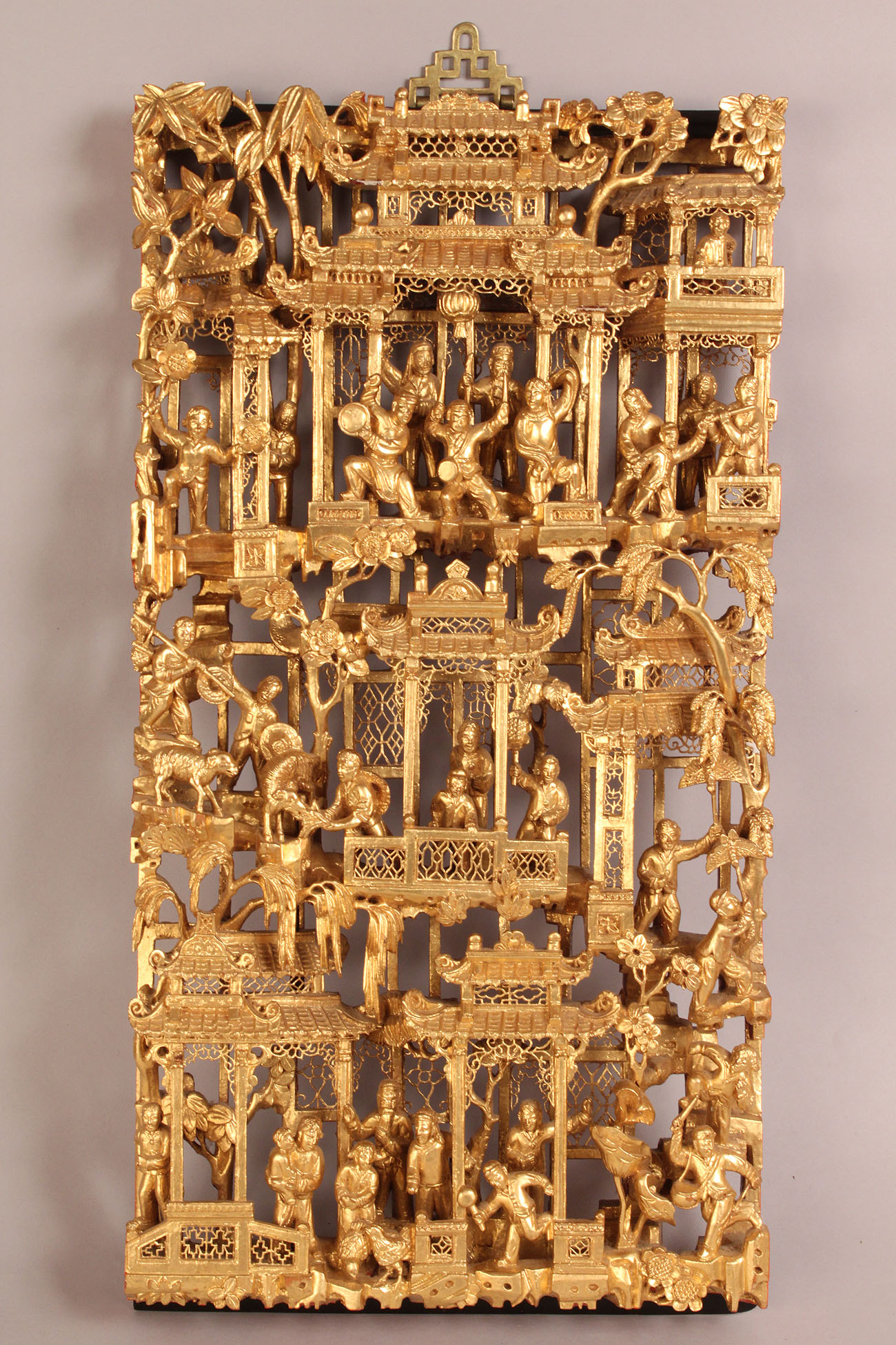 Lot 275 chinese carved gilded wood panel for Wood in chinese