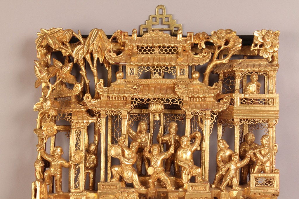 Lot 275: Chinese Carved & Gilded Wood Panel.