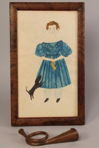 Lot 27: E. TN folk art portrait, Timothy Chandler & horn