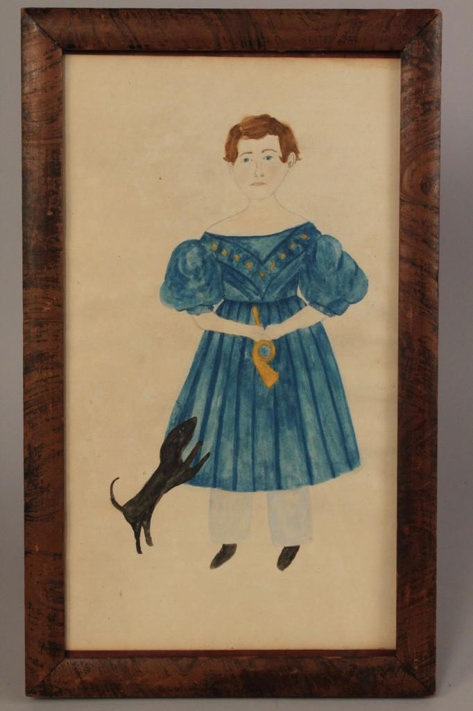 Lot 27: E. TN folk art portrait, Timothy Chandler & horn