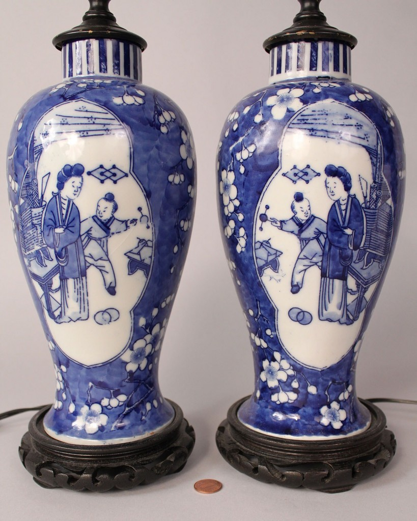 Lot 286: Pair of Chinese Export Vases converted to lamps
