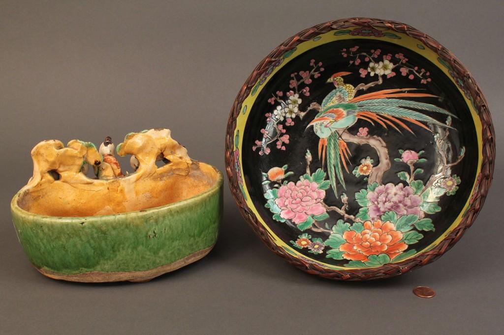 Lot 287: Asian Porcelain Bowl  & Figural Planter
