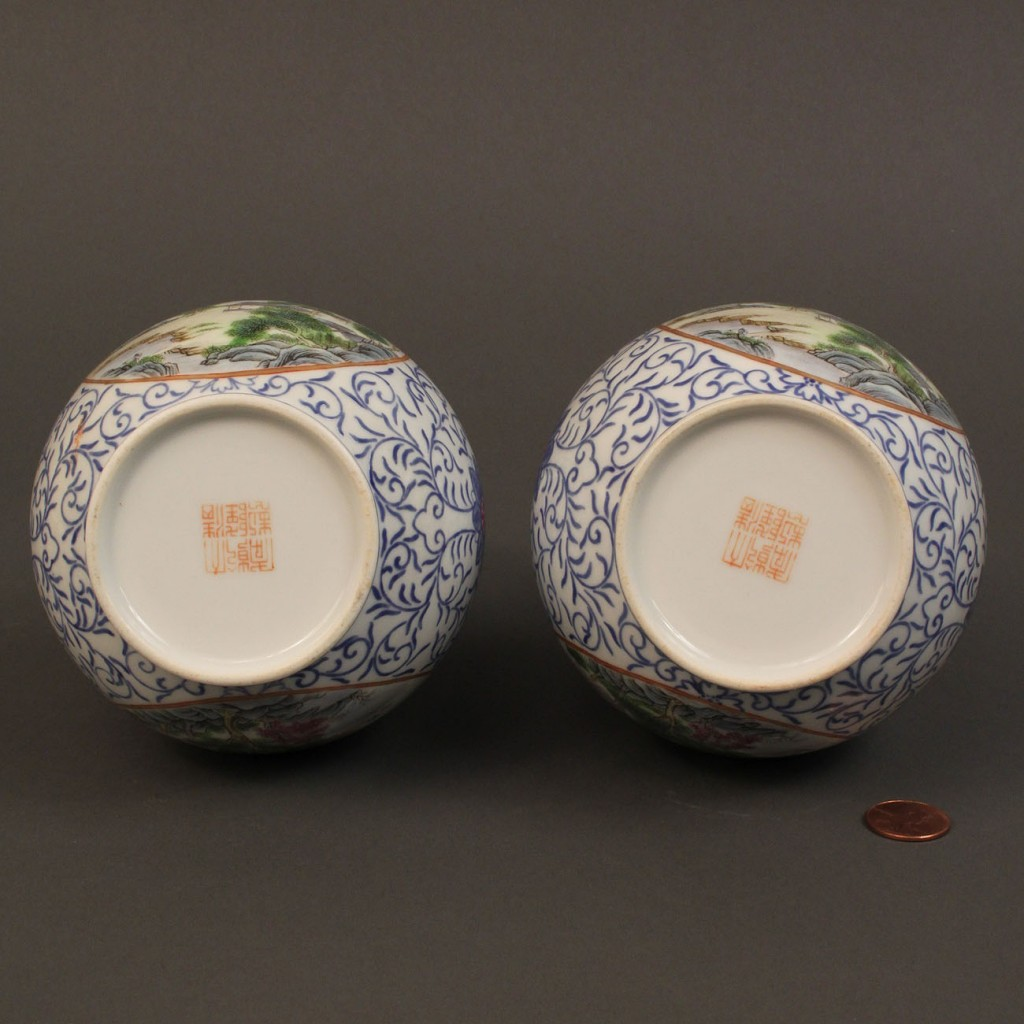 Lot 291: Pair of Chinese Famille Rose gourd vases