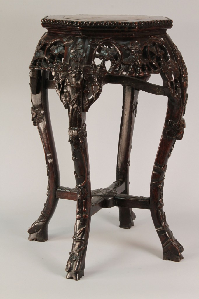 Lot 293: Chinese Hardwood Stand w/ Marble Inset