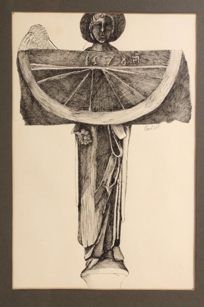 Lot 29: Carl Sublett watercolor & Williard Carl pen & ink