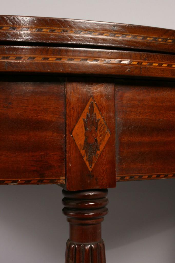 Lot 301: Federal Style Mahogany Inlaid Card Table