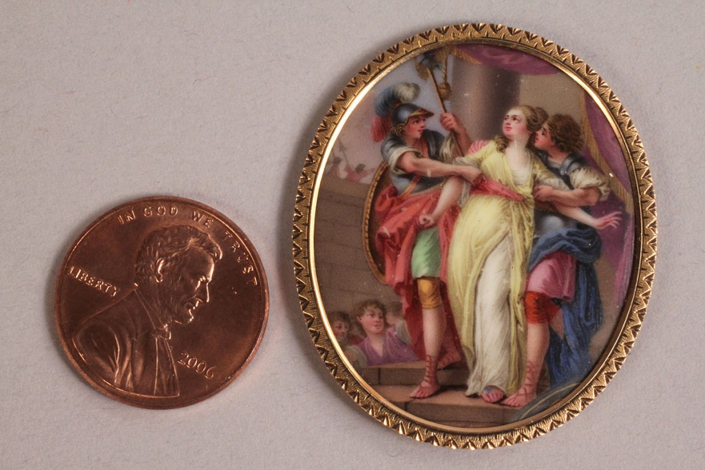 Lot 307: 2 miniature paintings on enamel, 19th c. figures