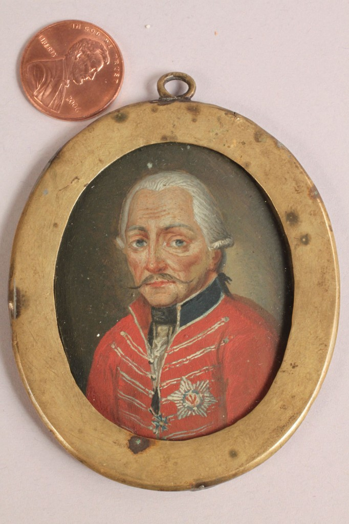 Lot 308: Portrait Miniature of General Gunther, 18th c.