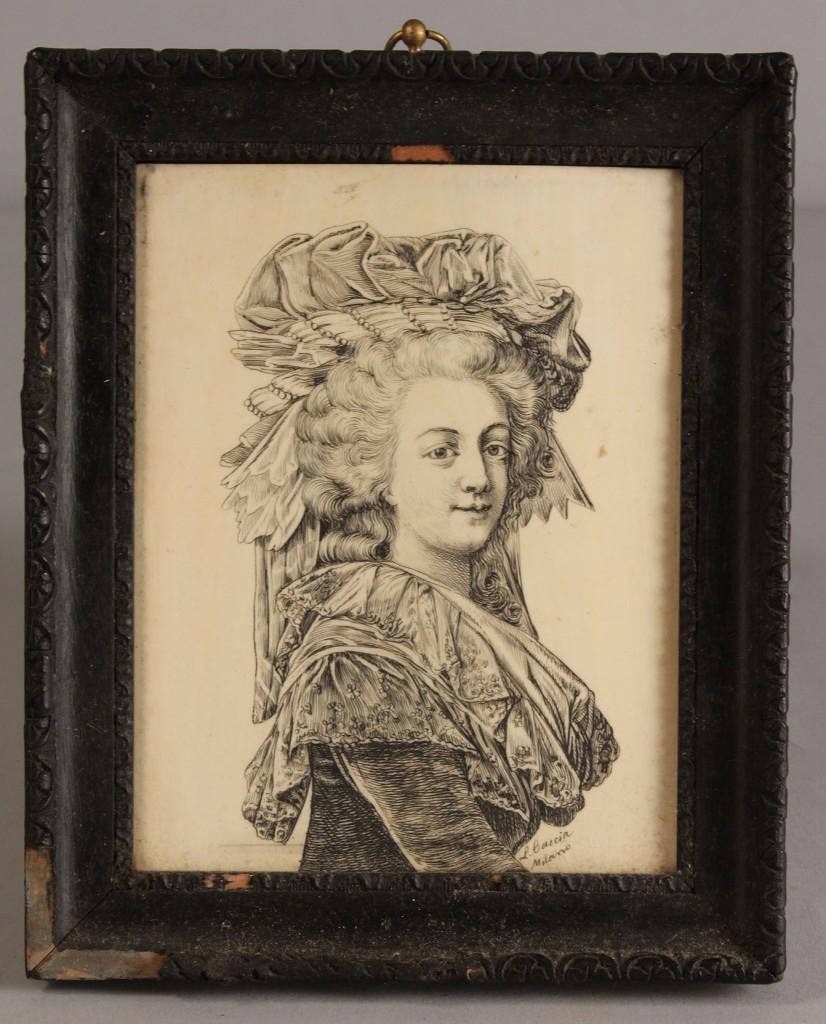 Lot 310: Framed miniature on ivory of Marie Antoinette