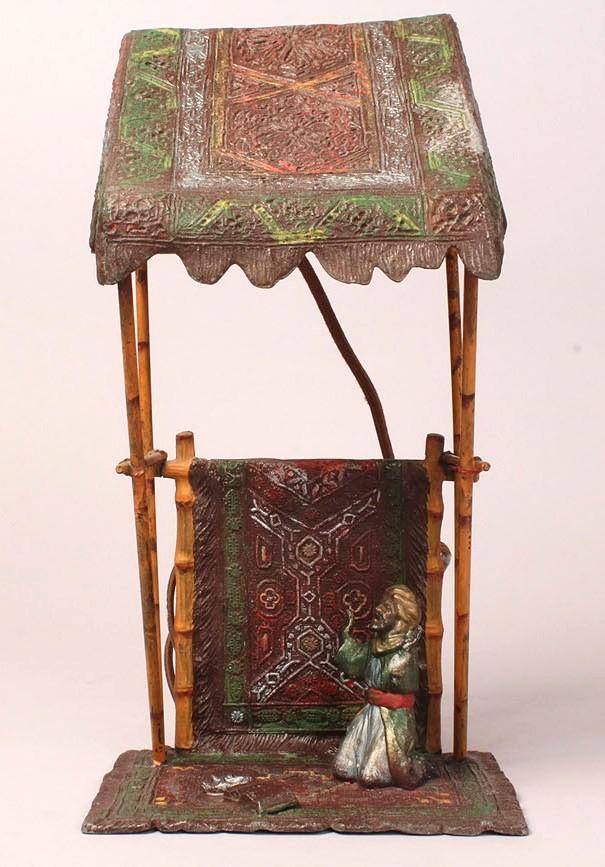 Lot 317: Austrian Cold Painted Bronze Figural Lamp, Arabian style