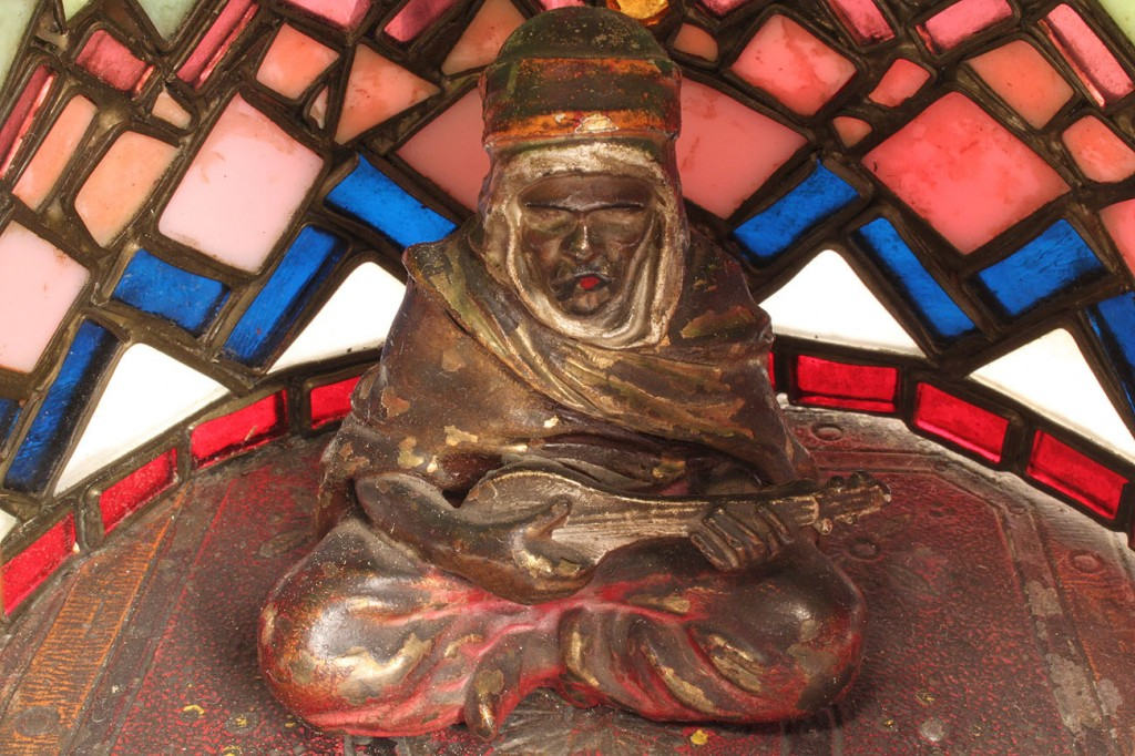 Lot 318: Cold Painted Lamp w Leaded Glass Shade, Arab figure