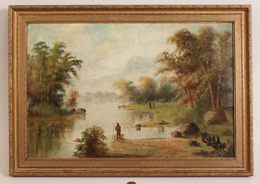 Lot 321: Landscape Oil on Board, Black man fishing