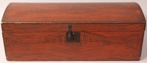Lot 32: Diminutive Grain Painted Dome-top Box