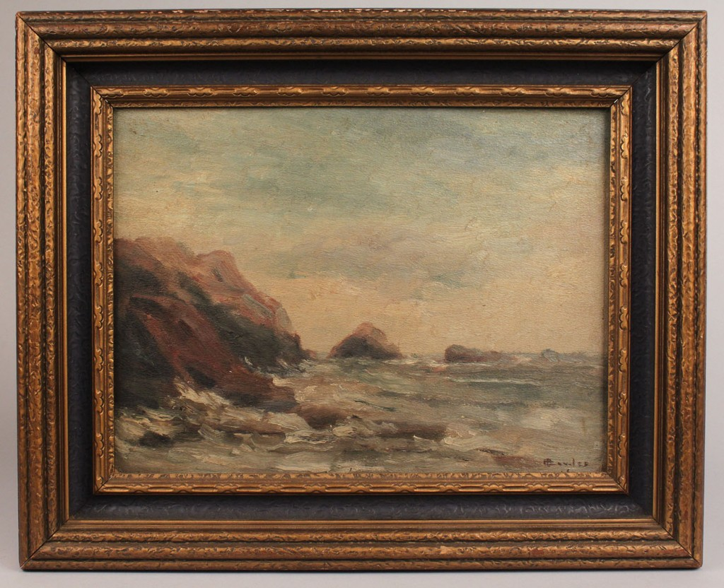Lot 336: Oil on board seascape, possibly Edith V. Cowles