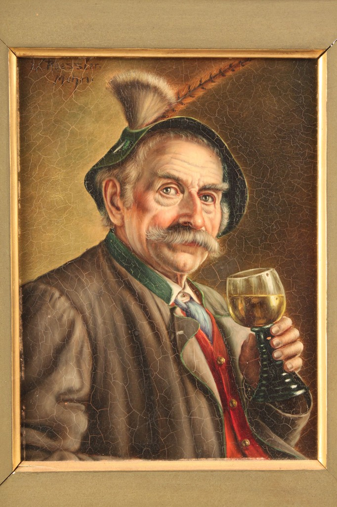 Lot 338: Walter Rossler oil on board, Man with Wine