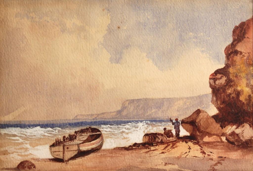 Lot 340: Watercolor of coastal scene, unsigned