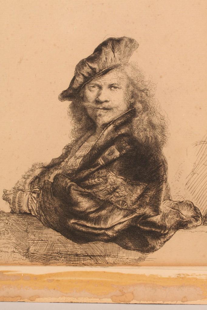 Lot 343: Etching after Rembrandt, Self Portrait
