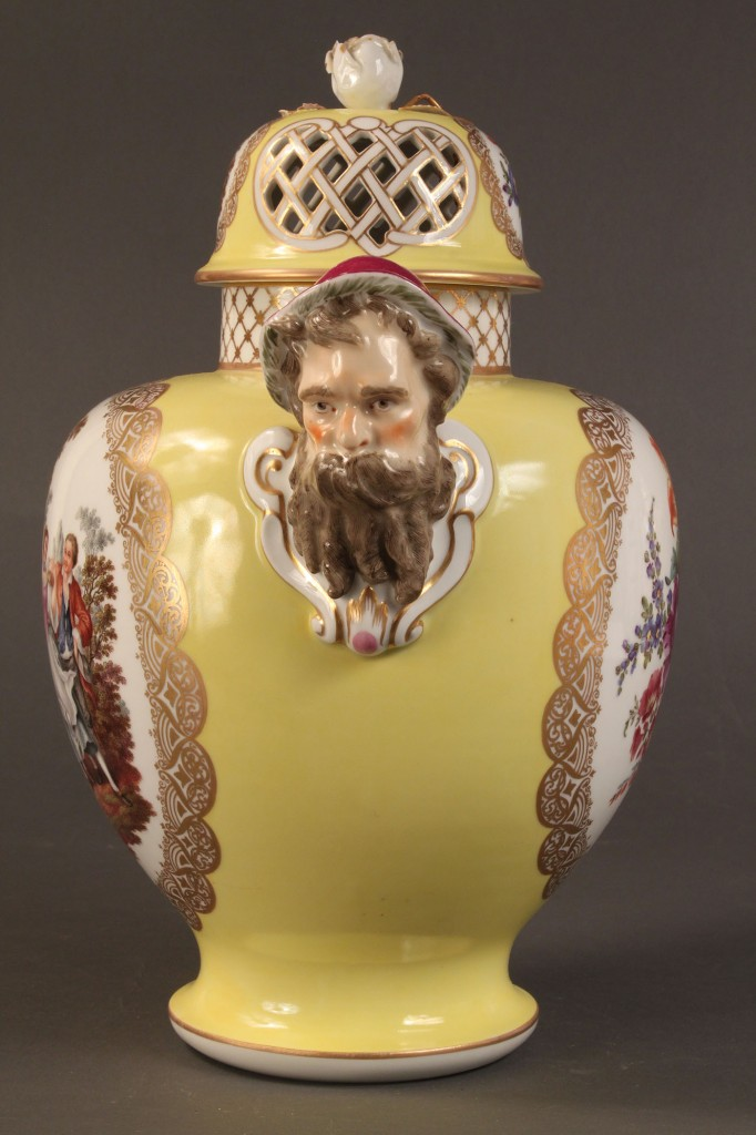 Lot 359: Pair of Sevres-style covered vases, yellow