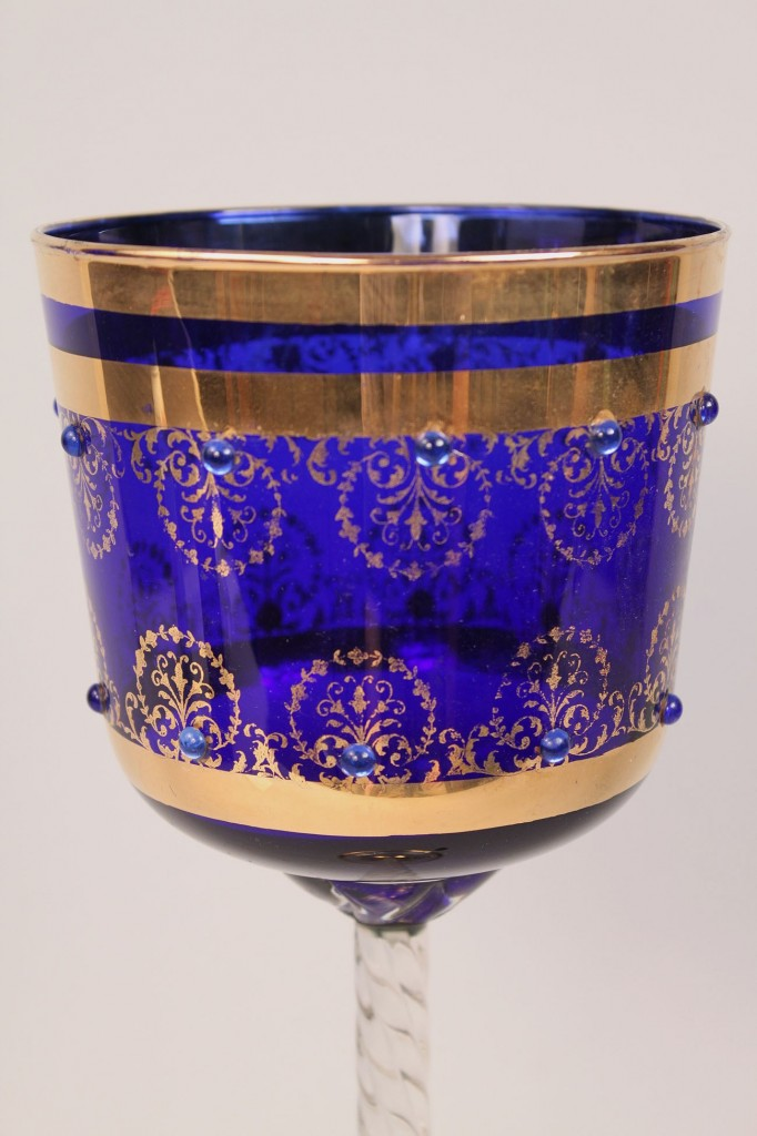 Lot 365: Cobalt glass chalice with air twist stem, 18""