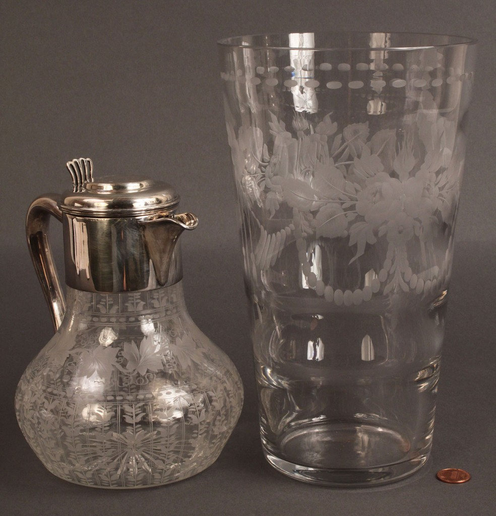 Lot 366: Engraved glass vase and pitcher, Hawkes