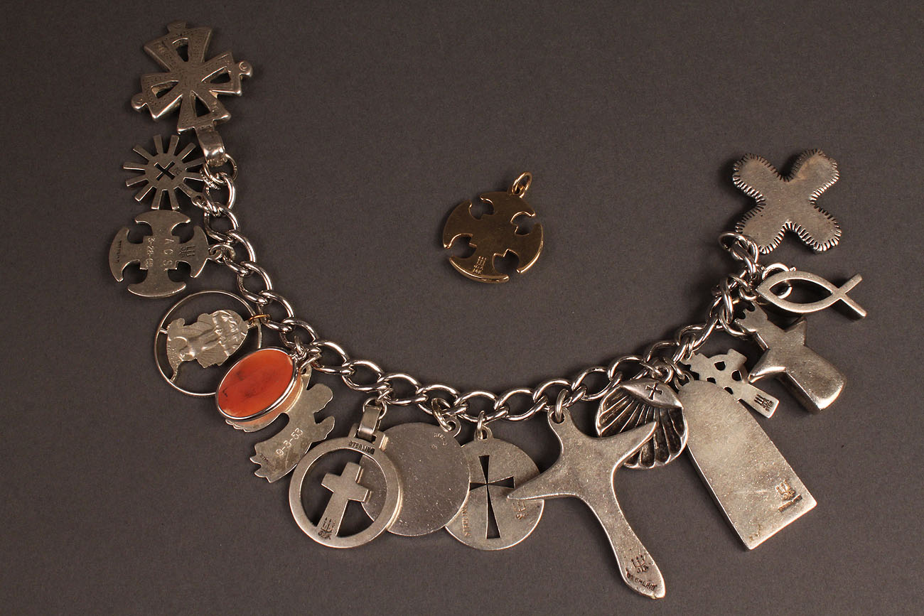 Lot 371 James Avery Sterling Charm Bracelet Amp Gold Cross