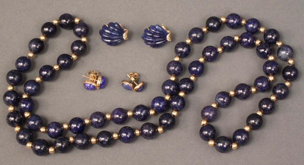 Lot 378: 14K Lapis Lazuli beads & 3 pair of earrings