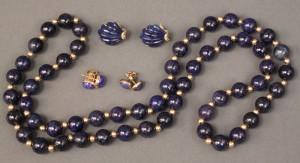 Lot 378: 14K Lapis Lazuli beads & 3 pair of earrings
