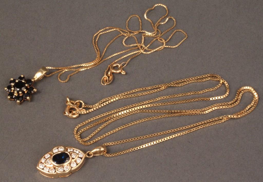 Lot 384: 14K Sapphire & Diamond pendant + 1 other