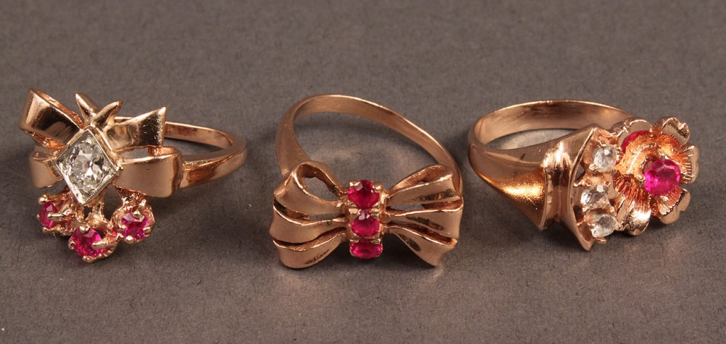 Lot 387: 3 14K Rose Gold Diamond & Red Stone Rings