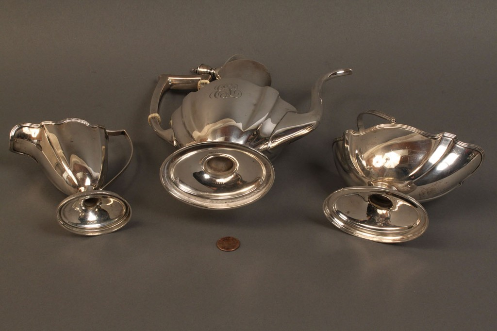 Lot 390: Gorham Coffee Pot, creamer & sugar basket, Plymouth pattern