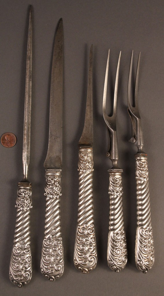 Lot 393: Five Piece Sterling Carving Cutlery Set