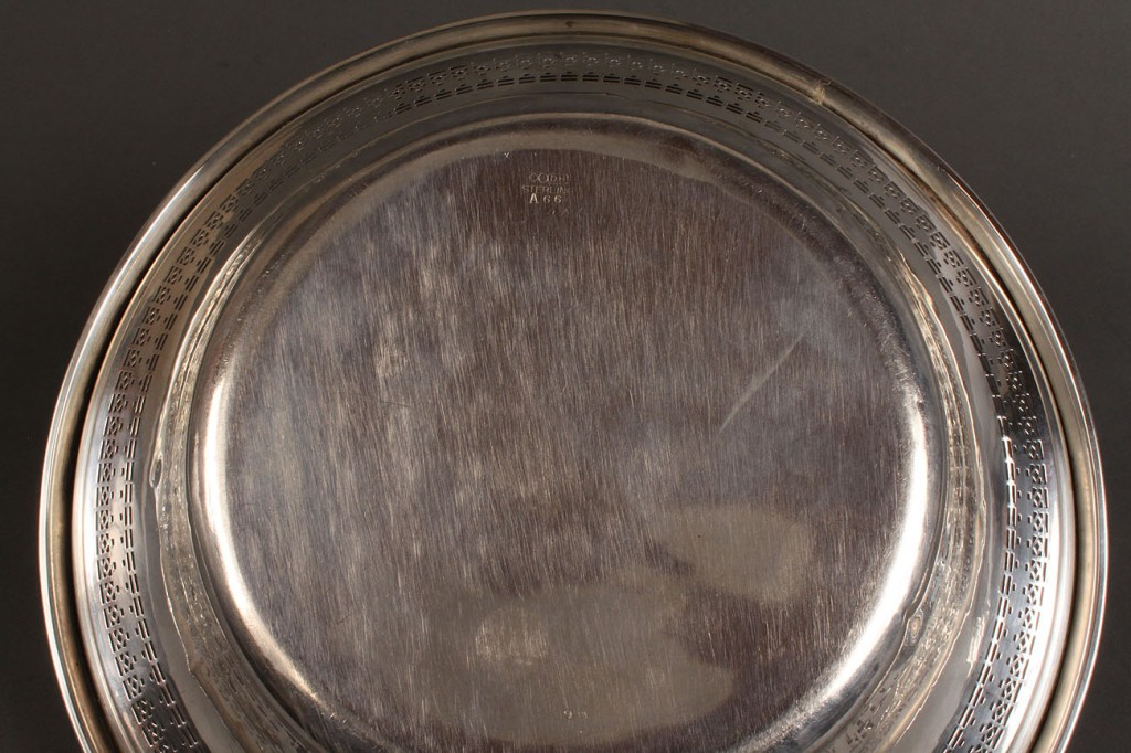 Lot 395: Two sterling silver trays and a bowl