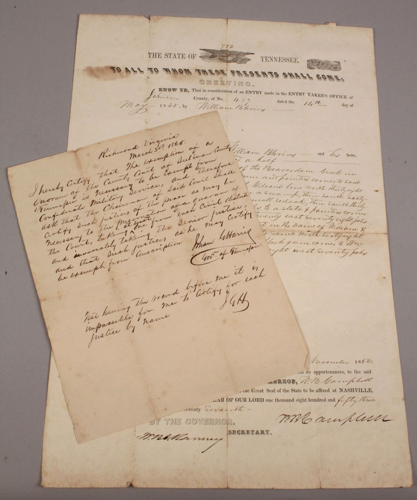 Lot 3: Lot of 2 TN documents, Gov. Harris & Campbell