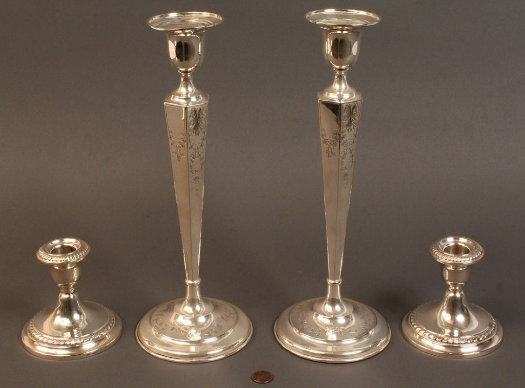 Lot 403: Lot of 4 Sterling candlesticks, weighted