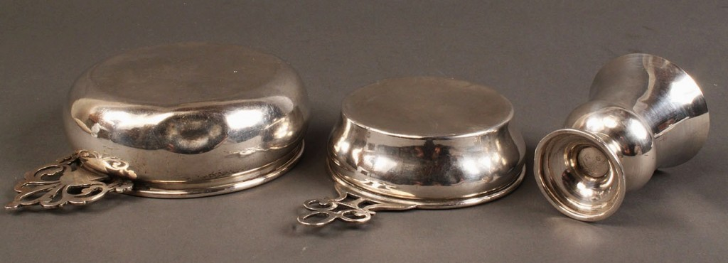 Lot 404: 2 sterling silver porringers & toothpick cup, 3 pcs.