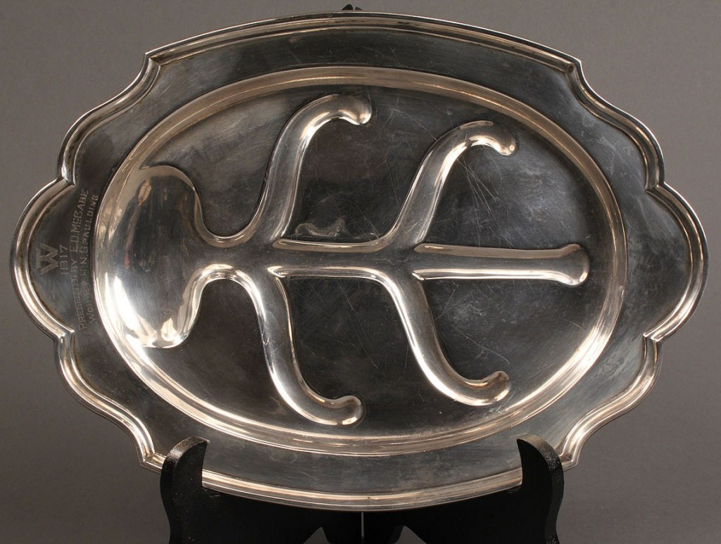 Lot 405: Alvin Co. Sterling Presentation Tray, N. H. Governor