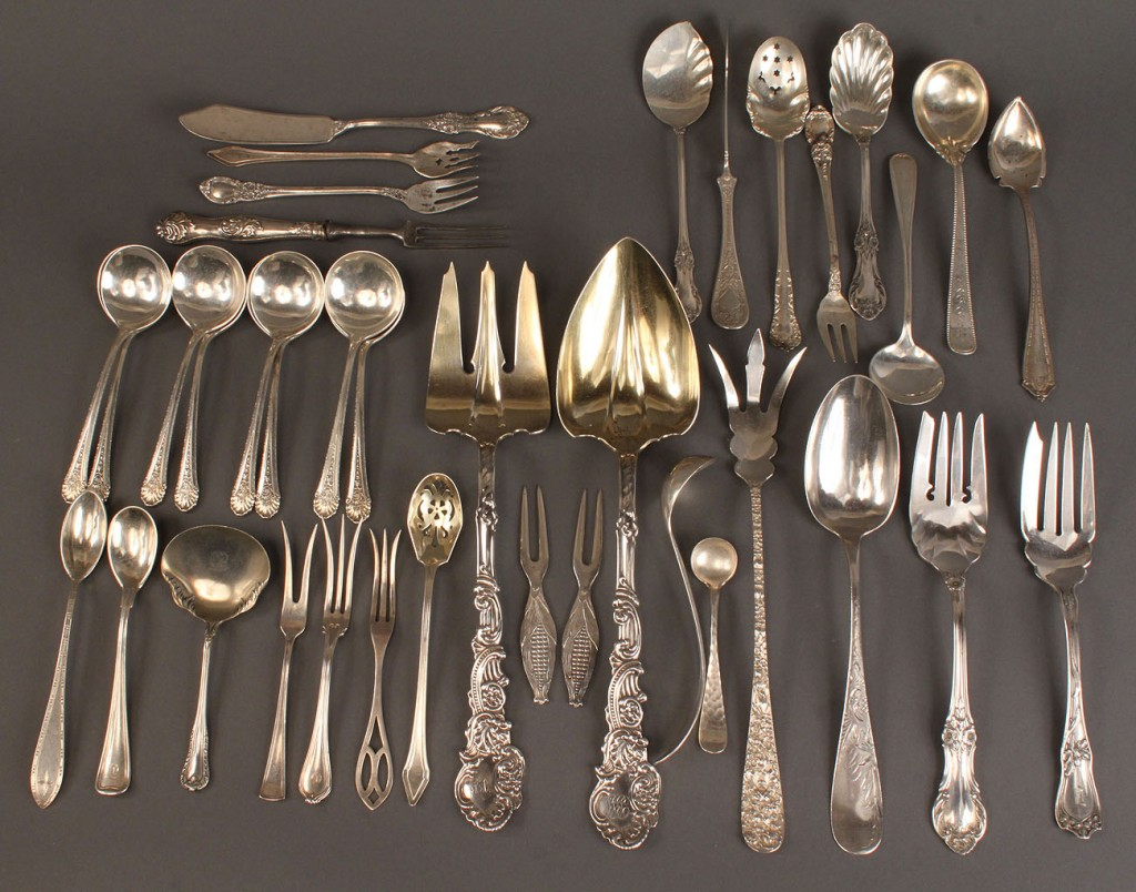 Lot 406: Lot of 37 pieces assorted sterling flatware