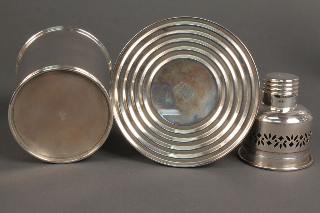 Lot 410: Lot of 3 Silver items, Julep Cup & candlesticks