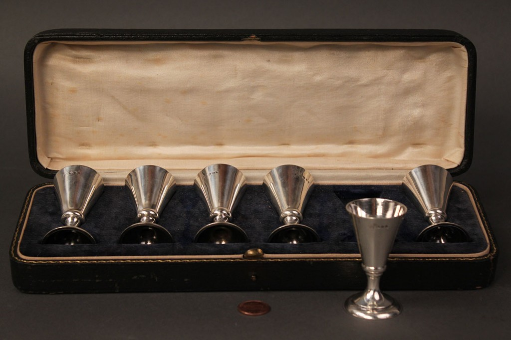 Lot 411: Set of 6 English Cased Sterling Cordials