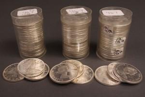 Lot 413: Lot of 66 Canadian Silver Dollars Elizabeth II