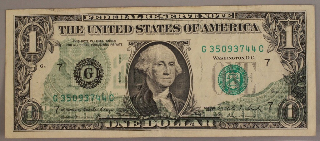 Lot 420: 1914 – G 1988 $1 Federal Reserve Note Error