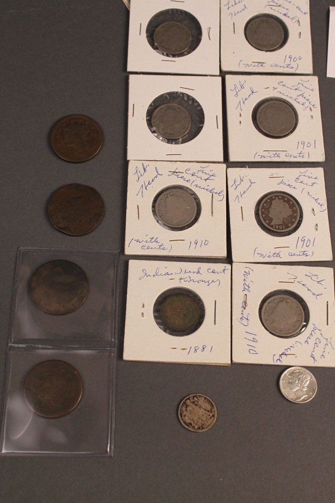 Lot 422: Lot of 62 Early U.S. & World Coins & Currency