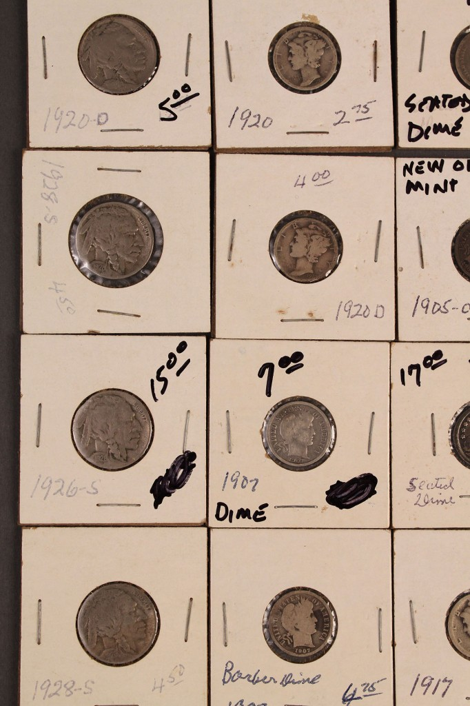 Lot 424: Lot of 59 US Dimes and Buffalo Nickels
