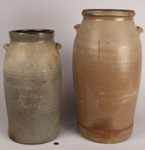 Lot 429: Lot of 2 Middle TN Stoneware Jars, attrib. Lafever