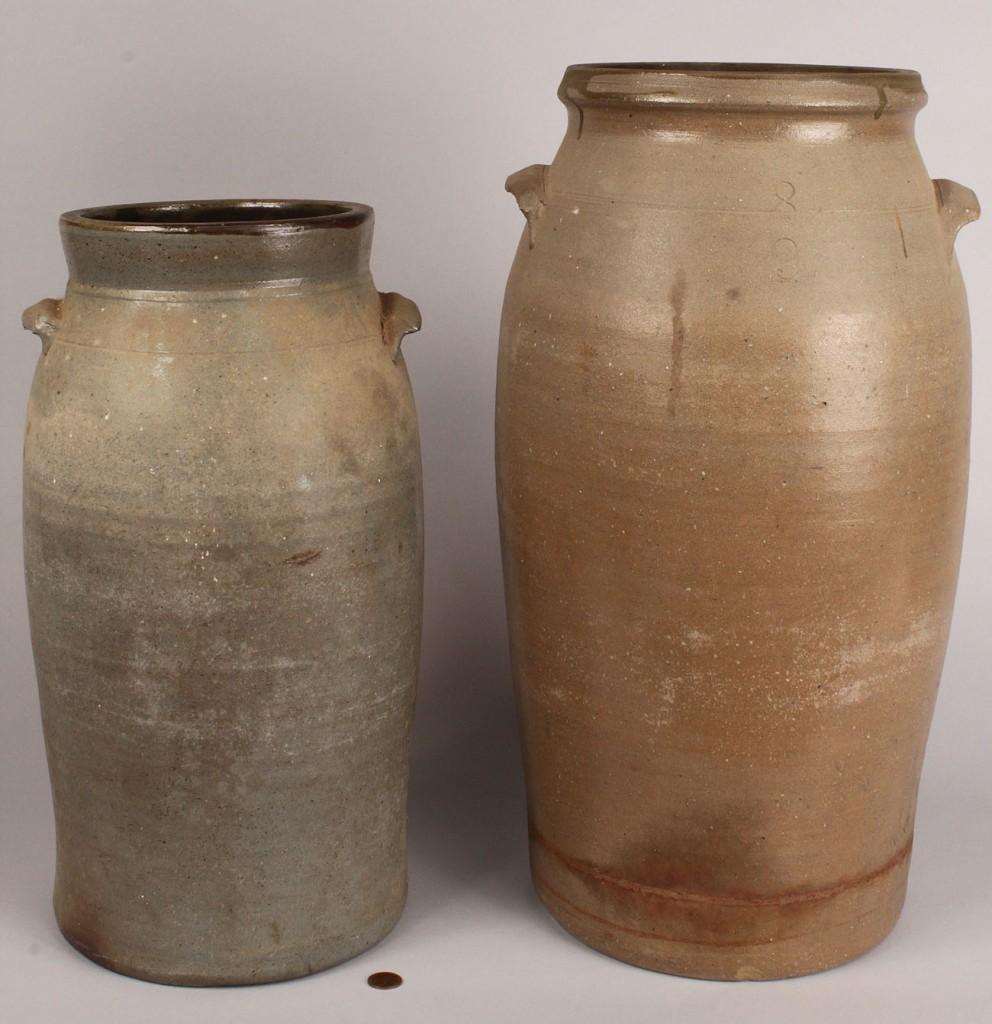 Lot 429: Lot of 2 Middle TN Stoneware Jars, attrib. Lafever