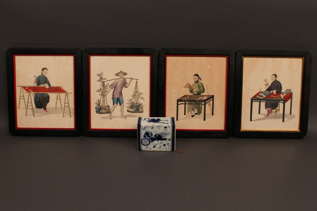Lot 437: Chinese decorative Engravings & pillow, 5 items
