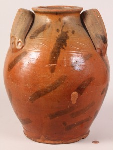Lot 43: Large East TN redware storage jar, attrib. Cain pottery